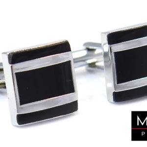 czarne kwadratowe spinki z srebrnym prostokatem