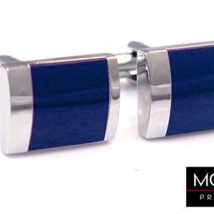 srebrne spinki z kobaltowym kwadratem